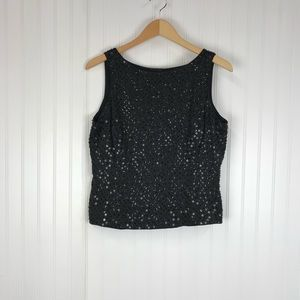 Dana Buchman black sequin silk tank top blouse BR3